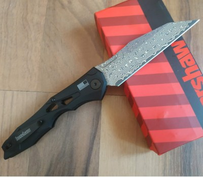 "Нож Kershaw 7650 Launch 13, 3.5"" VG10 Black Damascus Blade, Aluminum Handle"