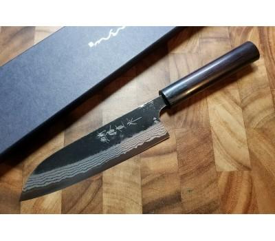 Anryu Santoku нож Shirogami (White) No. 2 Kurouchi Damascus 165mm