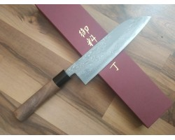 HONMAMON Дамасская сталь, Aogami # 2 Santoku 180 мм