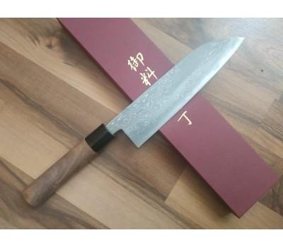 HONMAMON  Дамасская сталь, Aogami # 2 нож (Santoku) 180 мм