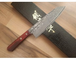 HONMAMON Damascus steel, R2 HSS Santoku 170 mm