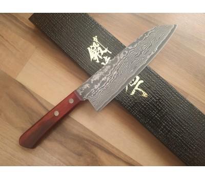 HONMAMON - TANAKA Дамасская сталь, R2 HSS нож (Santoku) 170 мм