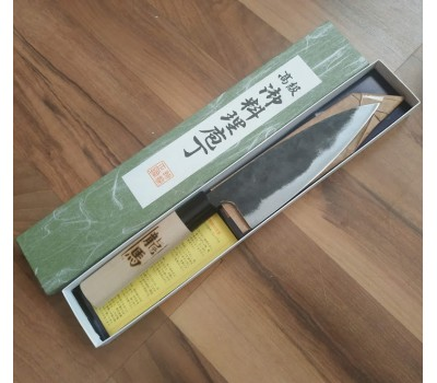 Tomita Funayuki нож Черный Дракон Super Blue Steel 155 mm