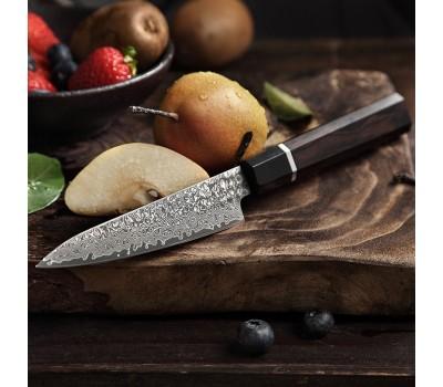 HEZHEN Retro Black Damascus Petty, универсальный нож, 130мм