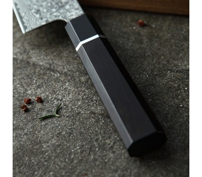 HEZHEN Retro series Black Damascus Gyuto, шеф нож, 210мм