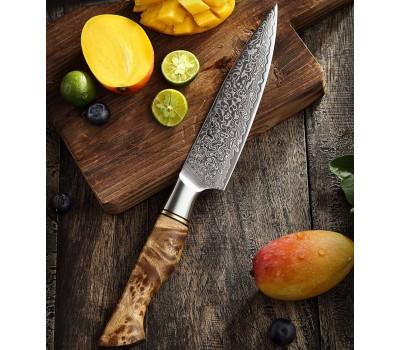 HEZHEN Master series Damascus Petty, универсальный нож, 133мм