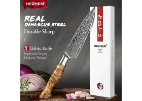 HEZHEN MS Damascus Petty knife, 133мм