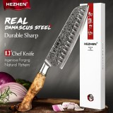 HEZHEN Damascus Santoku knife, 180мм
