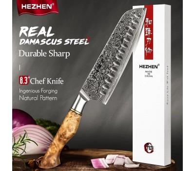 HEZHEN Master series Damascus Santoku, Сантоку нож, 180мм