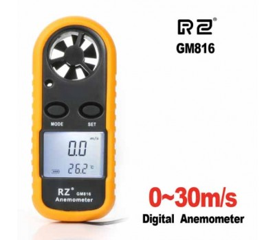 Digital RZ GM-816 anemometer (0.7 - 30 m / s) with temperature measurement (-10 to +45 ° C)